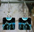 Handmade jewelry glass earrings Cat 245 from art painting L.Dumas