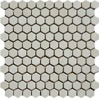 "Crema Marfil 1"" Hexagon Marble Tumbled Mosaic. ($11.50 Per Sheet)"