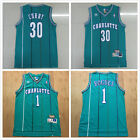 Charlotte Hornets #30 Dell Curry/ #1 Muggsy Bogues Mens Swingman Jersey Green