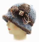 New Fashion WOMEN CROCHET CHEMO WINTER WARM HAT BEANIE W FLOWER PIN /Blue Q147