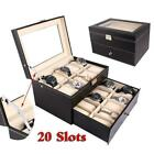 New Large 6/10/12/20/24 Slots Watch Box Top Jewelry Storage Display Case Black
