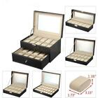 6/10/12/20/24 Slots Men Women Watch Box Top Jewelry Storage Display Durable Case