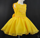 INANT,TODDLER & GIRL PAGEANT FLOWER GIRL FORMAL SHORT DRESS YELLOW 1-7 YEARS OLD