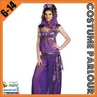 Womens Purple Genie Jasmine Aladdin Disney Ladies Fancy Dress Costume Sizes 6-14