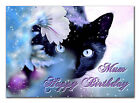 c060; Large Personalised Birthday card; Custom made for any name; Black cat