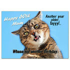 c194; Large Personalised Birthday card Custom made for any name; Funny goofy cat