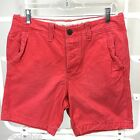 ABERCROMBIE & FITCH Classic Fit Shorts Red Lightly Distressed Cotton NWT