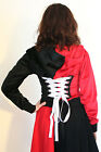 Red Black Cropped Corset Hoodie zip lace-up jacket plus size harley quinn