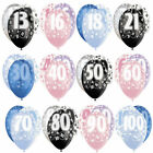 """Pack of 6 - 12"""" Glitz Latex Balloons Happy Birthday 1st-100th Party Decorations"""
