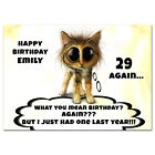 c367; Large Personalised Birthday card; Custom made for any name; funny cat