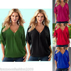 UK Plus Size Women's Summer V Neck Short Sleeve Shirt Top Loose Casual Blouse