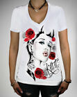 Kill It Pin Up Street Gothic Rockabilly Tattoo Women White Tee Blue Eyes