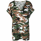 Womens Camouflage Baggy V Neck Top Ladies Turn Up Loose Batwing Oversized Tee