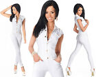 Sexy New Women's Denim White Jeans Playsuit Jumpsuit Overall Skinny Slim N 535
