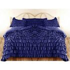 EGYPTIAN BLUE SOLID RUFFLED DUVET SET/SKIRT 1000TC 100% COTTON SCALA ALL SIZE