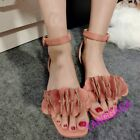 Sweet Womens Square Toe Flowers Ankle Strap Faux Suede Sandal Breath Flats Shoes