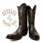 Black Jack Men's Chocolate Caiman Belly Square Toe Western Dress Boots CH250-V3