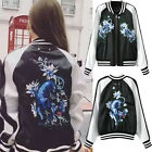 cheetah Floral Embroidered Bomber Jacket Pilots Couple Baseball Outerwear Coat