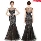 Black Lace Tulle Mermaid Prom Formal Evening Maxi Dress Size 8