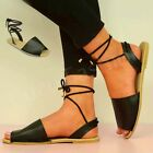 NEW WOMENS SANDALS LADIES LACE UP PEEP TOE MENORCAN SUMMER BLACK SHOES SIZE UK