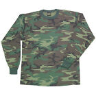 New Men's Woodland Camouflage T-Shirt Long Sleeve Tee Swing Size Small Or Medium