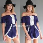 NEW LACE OFF THE SHOULDERS FOREVER HOT ROMPERS PLAYSUIT tigermist 8 10 12 14