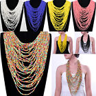 Fashion Handmade Mixed Colors Multi Layers Strand  Long Chain Pendant Necklace