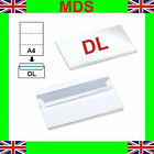 DL Plain White Self Seal Envelopes x 5  500 1000 6000 (NEXT DAY*) 110x220mm A4