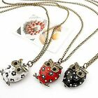 Owl necklace pendant Red white or black