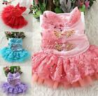 Small Dog Pet Clothes Chinese Cheongsam Dress Party Costume Lace Tulle Skirts