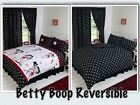 BETTY BOOP BEDROOM REVERSIBLE BEDDING DUVET QUILT COVER SET POLKA BLACK WHITE $35.96 CAD on eBay