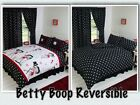 BETTY BOOP BEDROOM REVERSIBLE BEDDING DUVET QUILT COVER SET POLKA BLACK WHITE $58.1 CAD