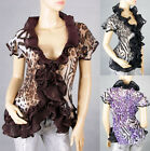 Vintage Ladies Ruffle Deep V-Neck Party&Casual Leopard Top Blouse Shirt6-12 2241