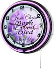 """Jesus Born Lived Died 18"""" Purple Double Neon Wall Clock Christian Inspirational"""