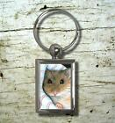 Round or Rectangle Metal Key Chain Hamster 10 art painting L.Dumas