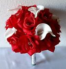 Red Rhinestone Rose Real Touch Calla Lily Bridal Bouquet & Boutonniere