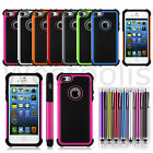 Hybrid Heavy Duty Hard Rugged Shockproof Silicone Rubber Case For iPhone 5 5S S