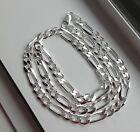 7.5 MM 925 STERLING SILVER MEN'S/WOMEN'S FIGARO LINK CHAIN NECKLACE 16-36""