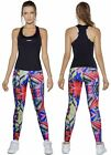 Haby Women's Gym Outfit Activewear Set Racerback Top and Leggings Colorful