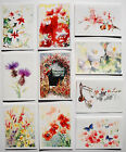 SET OF 10 BLANK GREETINGS CARDS NOTELETS THANK YOU BIRTHDAY NEW HOME FLOWERS
