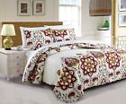 DaDa Bedding Bohemian Casablanca Romantic White Red Floral Quilted Bedspread Set image