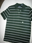 Chaps-Mens Dark Green w/ White Stripes Pull Over Shirt -3 Buttons Neck-Brand New