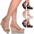 WOMENS LADIES HIGH HEEL WEDGE PLATFORM LACE UP WRAP AROUND SANDALS SHOES SIZE