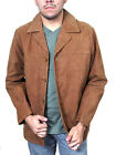 Men's Genuine Soft  Leather Jacket Buttons Closure Sytle #662