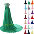 New beads long Chiffon Formal Evening Prom Party Ball Gown Bridesmaid Dress 6-18