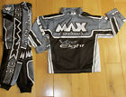 "Kids MX Motorcross Max Equippe Vee Eight Grey  Pant 20"" Vee Eight Shirt 3-4yr"