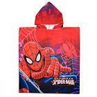 Marvel Boys Spiderman Poncho Hooded Kids Children Beach Towel Red One Size