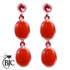 BJC® 9ct Rose Gold Natural Peach Coral Double Drop Dangling Studs Earrings