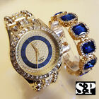 MEN HIP HOP ICED OUT GOLD PT BIG CZ WATCH & BLUE SAPPHIRE BRACELET COMBO SET  image