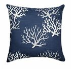 Coral Throw Pillow, Isadella Navy Grey White Throw Pillow, Beach Decor Pillow